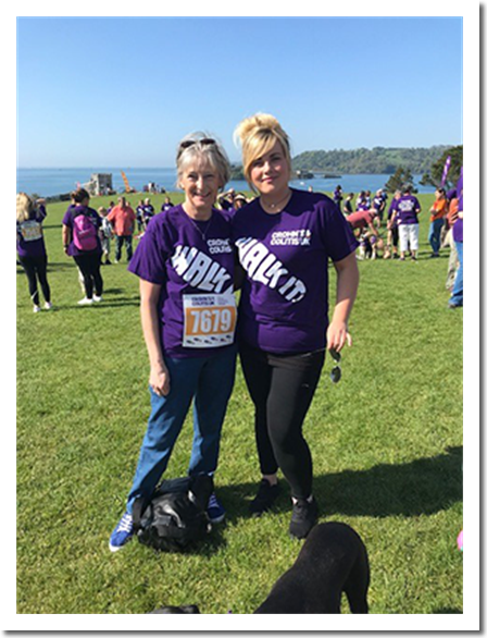 Tamar House Manager Gill Poad & Care Assistant Mischa Collins 'Walk-It!' for Charity